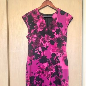 Floral Fuschia Midi Dress